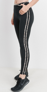 Mono B- Snow Jaguar Print Striped Highwaist Leggings