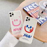 Fashion Cute Pink Blue Smiley Face Soft Casing