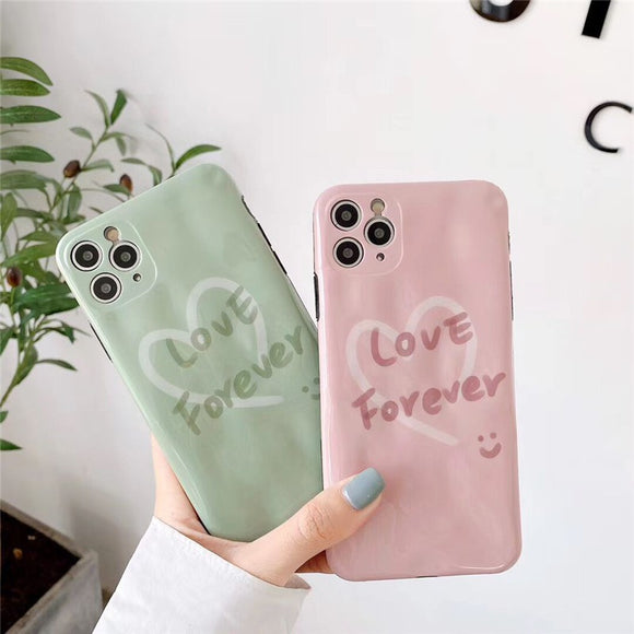 Pure Color Pink Green Couple Casing