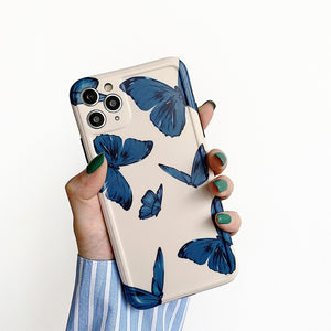 Korean Fashion Charm Blue Butterfly Soft Casing