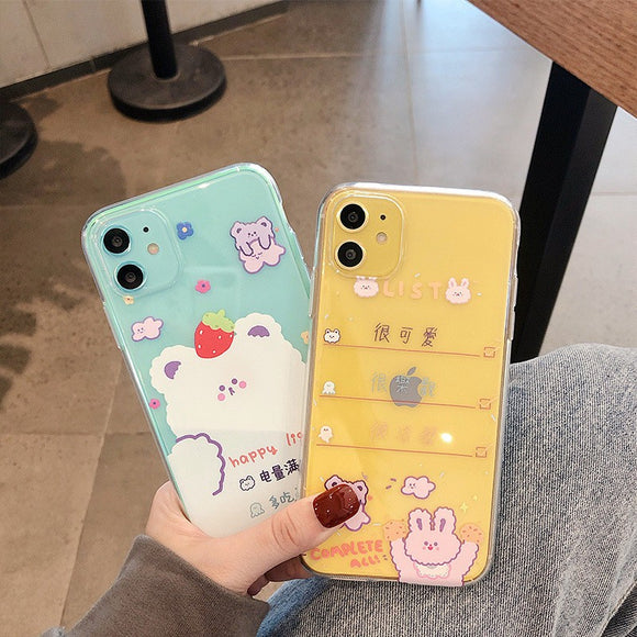 Transparent Cute Colored Drawing Soft Casing