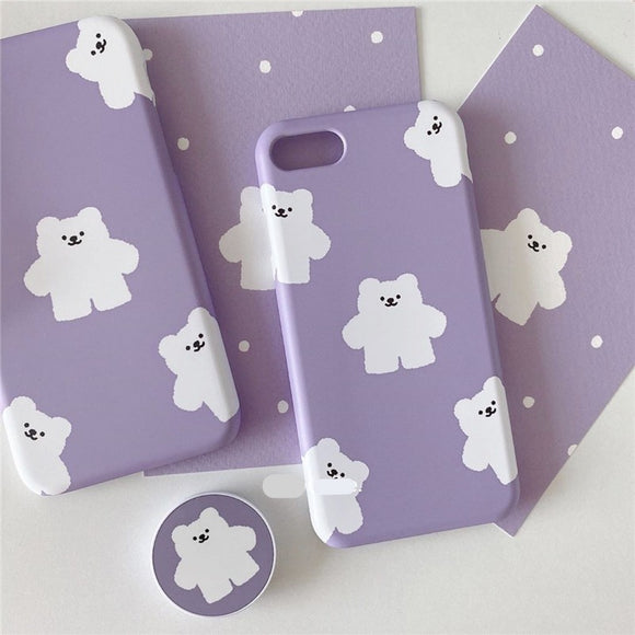 Cute Korean Purple Little Bear with Stand Soft Casing