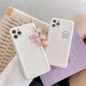 Korean Fashion Cute Simple White Animal Iphone Case