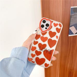 Korean Fashion Red Love Heart Iphone Case