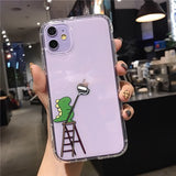 Korean Cute Transparent Drawing Dinosaur Soft Case