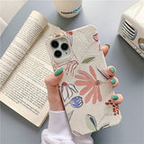 Korean Ins Simple Style Leaf and Flower leather Iphone Case