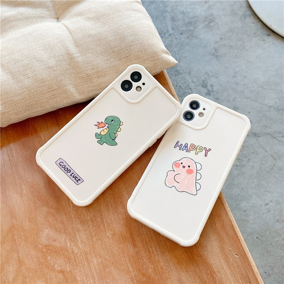 Creative Cute Couple Cartoon Dinosaur Iphone Case