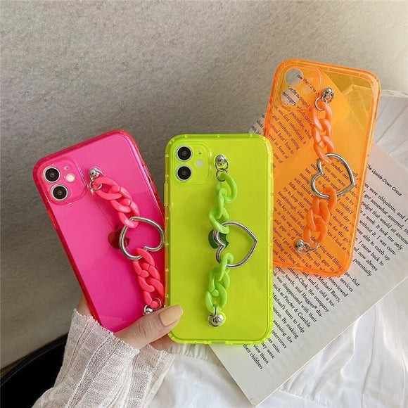 Fashion Charm Pure Color Love Heart Chain Iphone Case