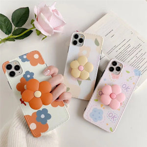 Pretty Flower Soft Casing With Stand Iphone
