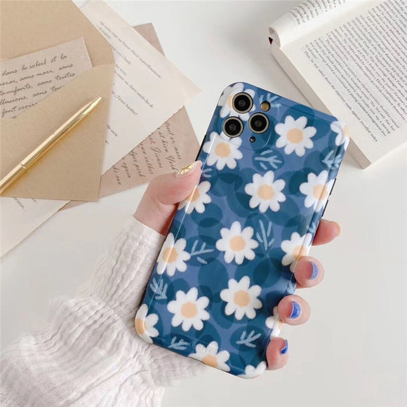 Creative Retro Fashion Blue Flower Soft Casing