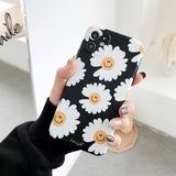Style Korean Unique Retro Black Flower Soft Case