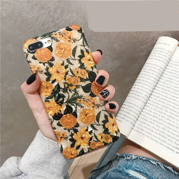 Popular ins Retro Shell Flower Soft Casing