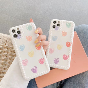 Pretty Hand Drawn Colored Love Heart Iphone Case