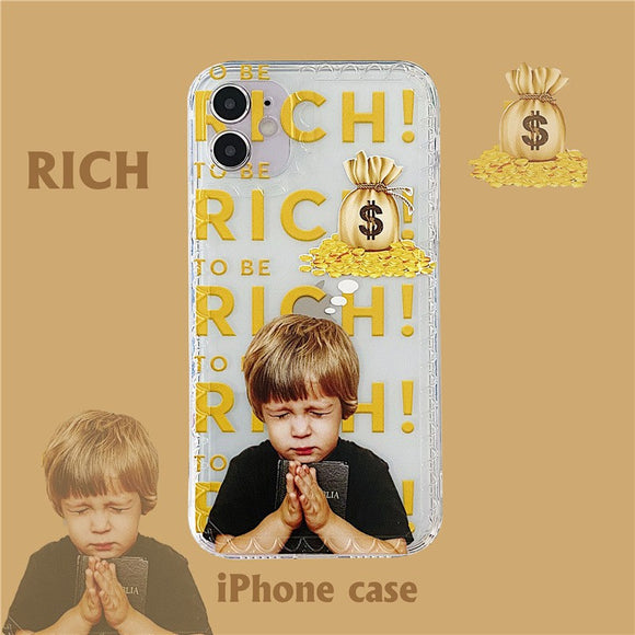 Creative Cute Get Rich Boy Iphone Case