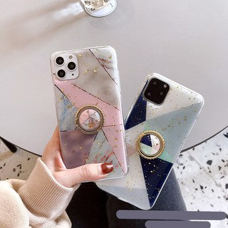 HOT Korean Pretty Gold Foil Marble with Stand Soft Casing