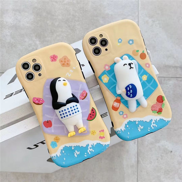3D Beach Sleeping Cartoon iPhone Case