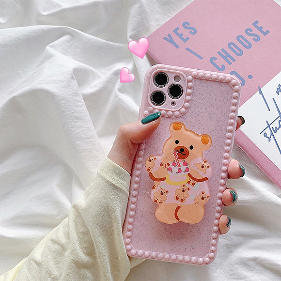 Pretty Pink with Little Bear Phone Stand Iphone Case