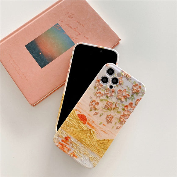 Pretty Oil Painting Sunset Iphone Case