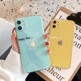 Korean Fashion Pure Transparent Happy Luccky Day Soft Case