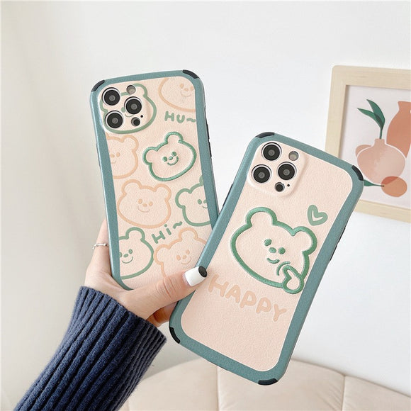 Cute Green Embroidery Little Bear Iphone Case