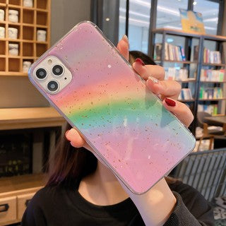 Hot Selling Korean Fashion Gold Foil Rainbow Soft Case