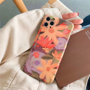 Oil Painting Orange Flower Soft Casing