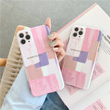 Fashion Pretty Pink Color Geometry Iphone Case Soft Casing