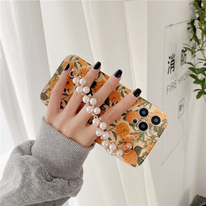 Pretty Vintage Yellow Flower Pearl Chain Wristband Iphone Case