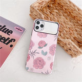 Fashion Nice Pink Flower Half Mirror Iphone case