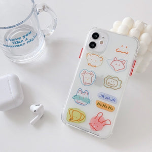 Simple Cute Colored Graffiti Animals Iphone Case