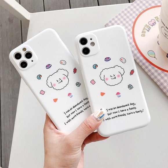 Korean Simple Cute White Dog Soft Casing