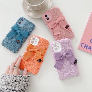 Full Lens Protection Candy Plush Bowknot Iphone case