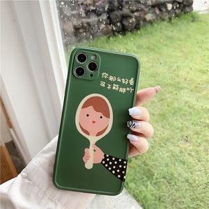 New Creative Cute Green Mirror Girl Iphone Case