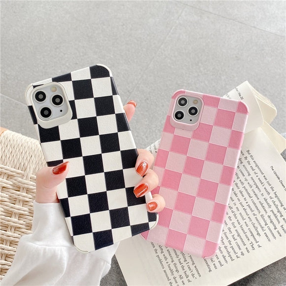Simple Fashion Black White Pink Lattice Iphone