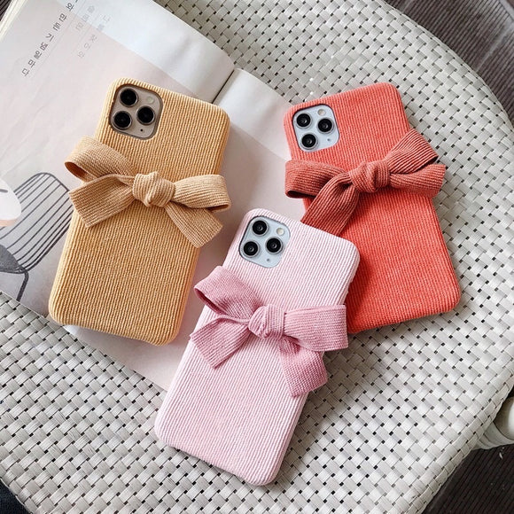 Fashion Pretty Corduroy Bow Iphone Case
