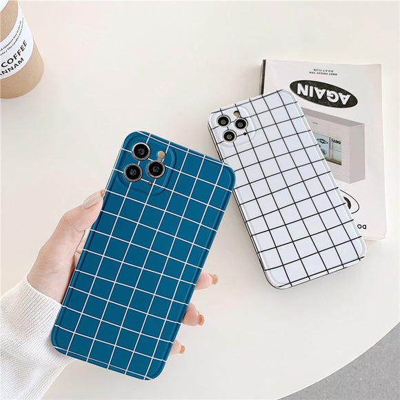 Simple Fashion Blue White Color Lattice Iphone