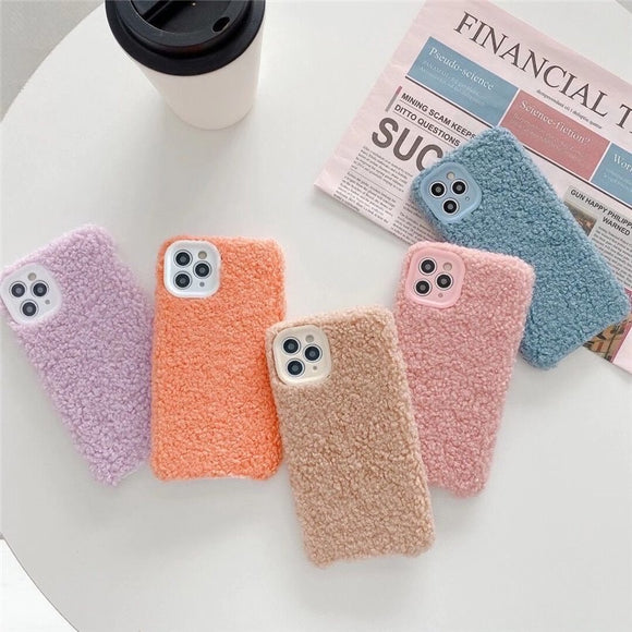 New Arrival Fashion Nice Simple Color Plush Iphone