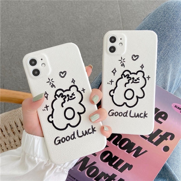 Creative Cute Embroidery Bear Iphone Case