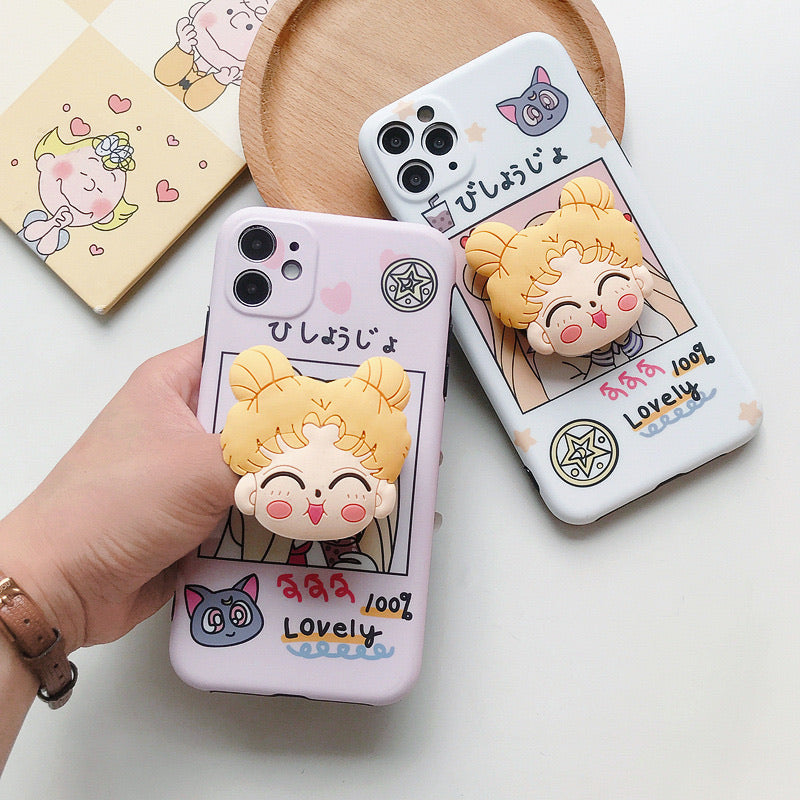 Cute Comic girl phone case with Stand