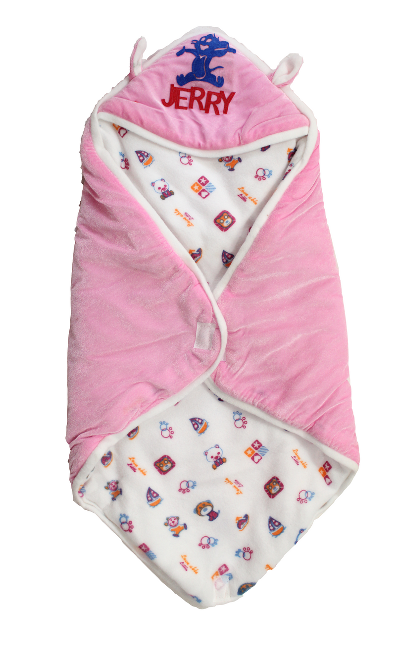 Super Soft Organic Cotton Baby Hooder Blanket Cum Wrapper 35 X 35 Inchs