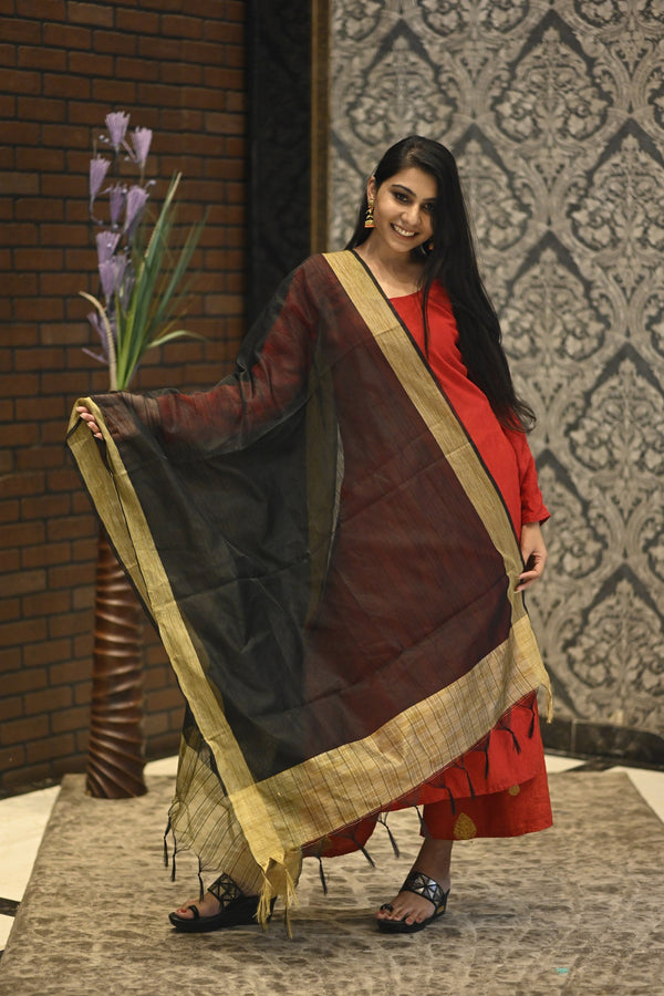Women's Jacquard Lining Net Dupatta with Golden Border