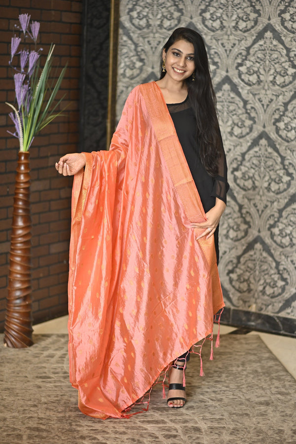 Women's Golden Drops Jacquard Silk Dupatta with Golden Border