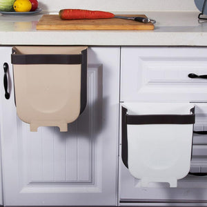 Folding Waste Bin Kitchen Cabinet Door Hanging Trash Bin Trash Can Wall Mounted Trashcan for Bathroom Toilet Waste Storage