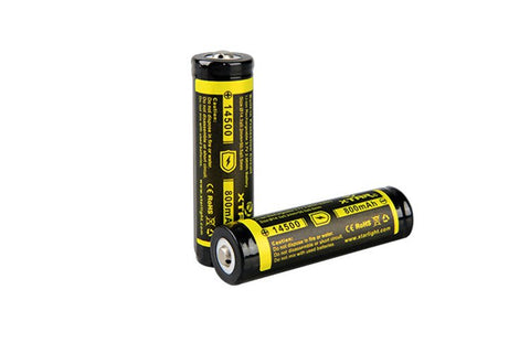 XTAR 14500 800mAh Battery (Protected) Button Top - XTAR Direct