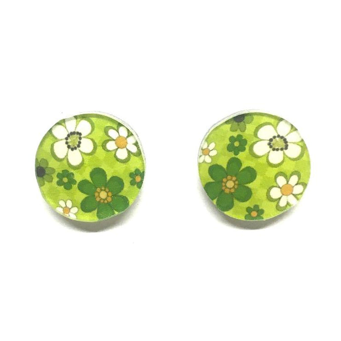 Earrings - Green Floral Retro Studs