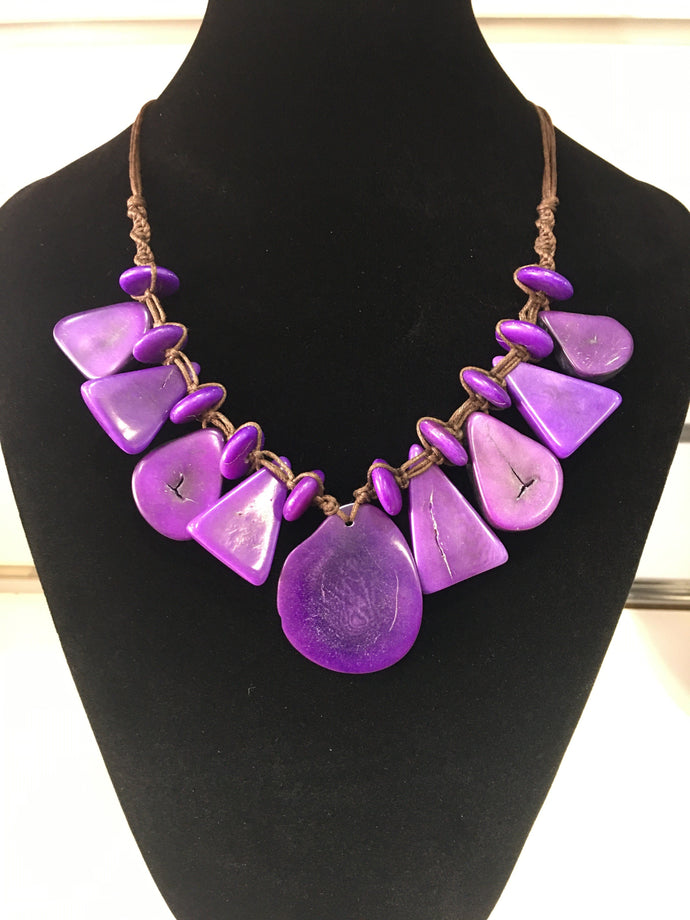 Tagua Jewellery - Purple Slice Necklace