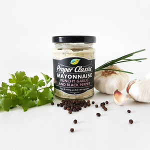 proper classic mayonnaise punchy garlic and black pepper