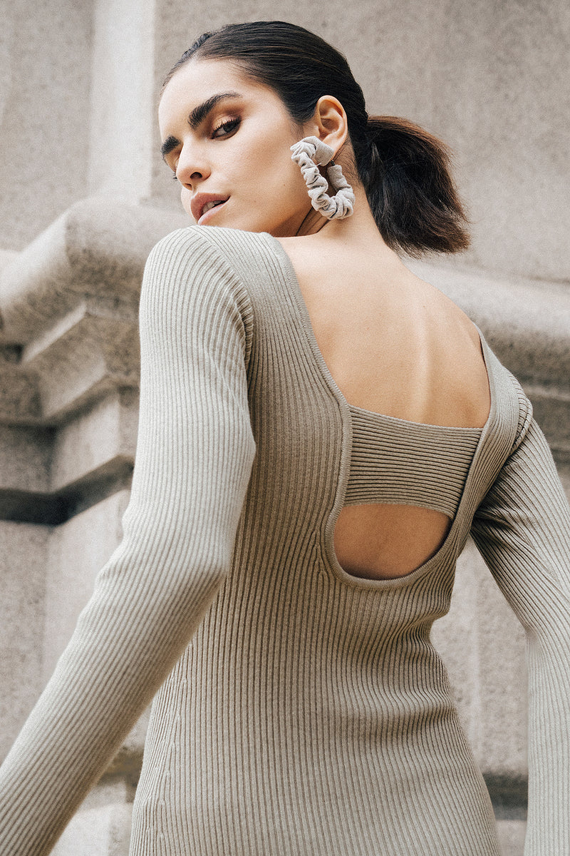 Open Back Long Sleeve Knitted Midi Dress