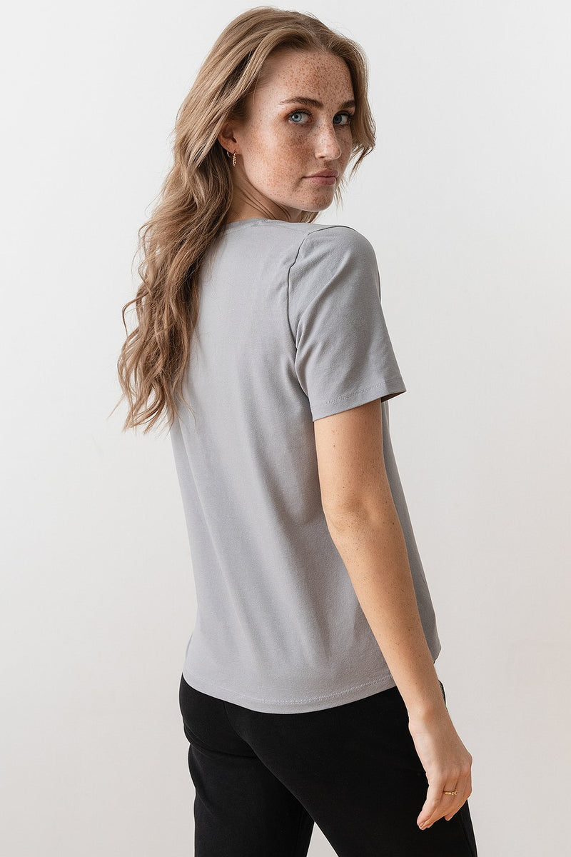 Deep V-Neck Short Sleeve T-shirt