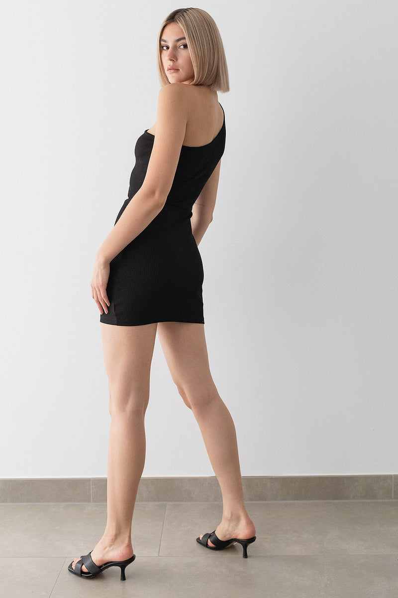 One Shoulder Ribbed Mini Dress